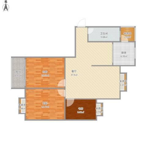 东台东城名苑3室1厅1卫1厨133.00㎡户型图
