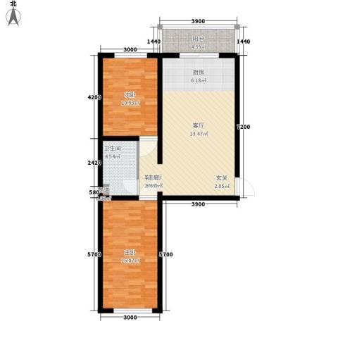水岸康居2室1厅1卫0厨77.00㎡户型图