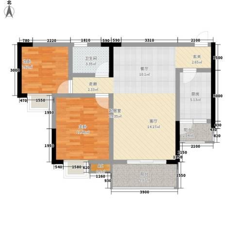 小天鹅花园2室0厅1卫1厨76.00㎡户型图