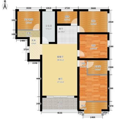 南海国际3室1厅2卫1厨145.00㎡户型图