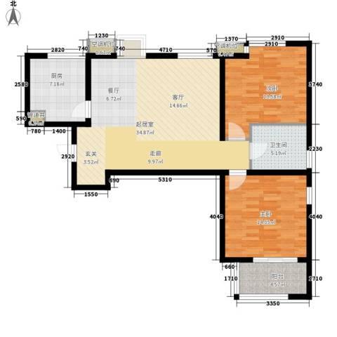 明湖・白鹭郡2室0厅1卫1厨92.00㎡户型图
