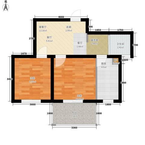 云河湾2室1厅1卫1厨65.00㎡户型图