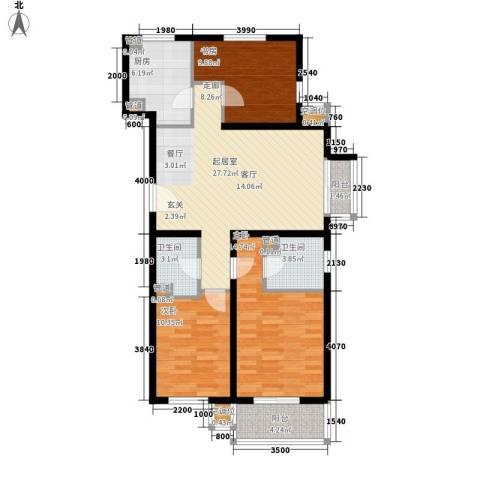 元龙水云间3室0厅2卫1厨124.00㎡户型图