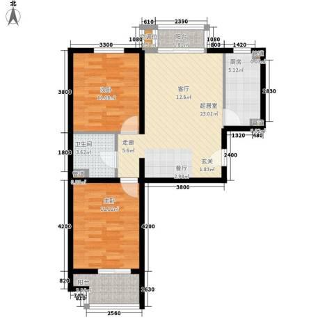 元龙水云间2室0厅1卫1厨93.00㎡户型图