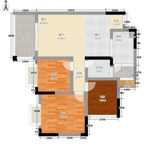 兴茂盛世华都3室1厅1卫1厨87.00㎡户型图