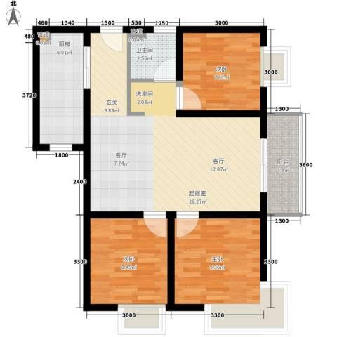 领地国际3室0厅1卫1厨93.00㎡户型图