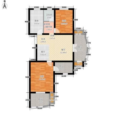 恒隆花园2室0厅1卫1厨105.00㎡户型图