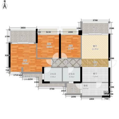 泷景花园3室1厅2卫1厨113.00㎡户型图
