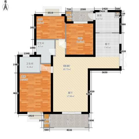 云河湾3室1厅2卫1厨117.00㎡户型图