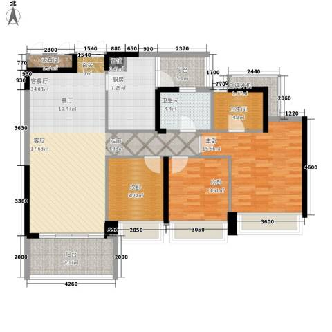 泷景花园3室1厅2卫1厨128.00㎡户型图