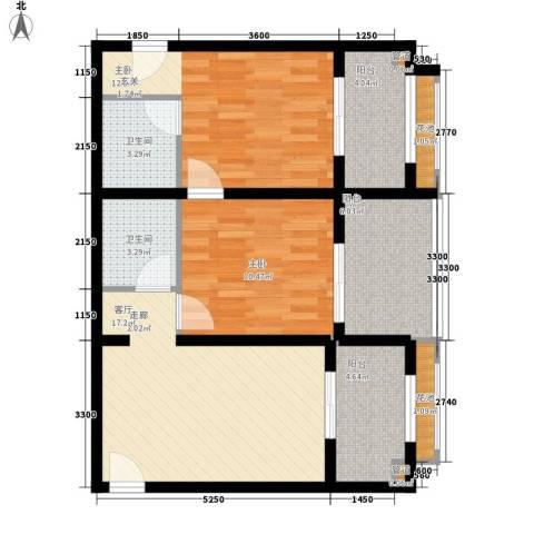 领地国际2室1厅2卫0厨94.00㎡户型图