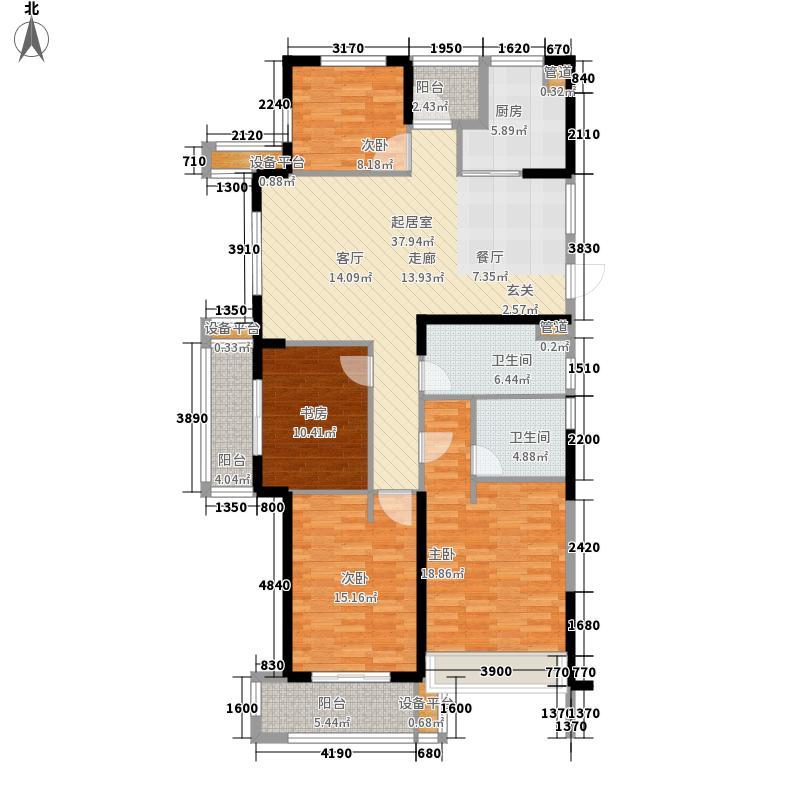 华元欢乐城139.30㎡A偶数层户型4室2厅2卫