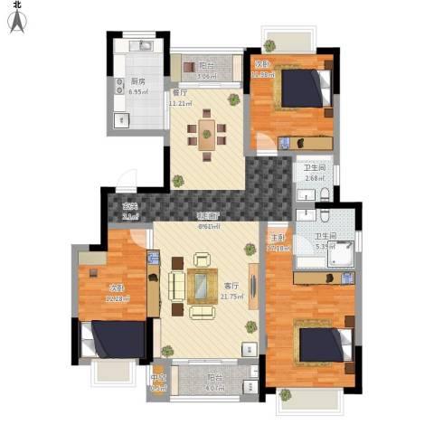 中惠卡丽兰3室1厅2卫1厨154.00㎡户型图