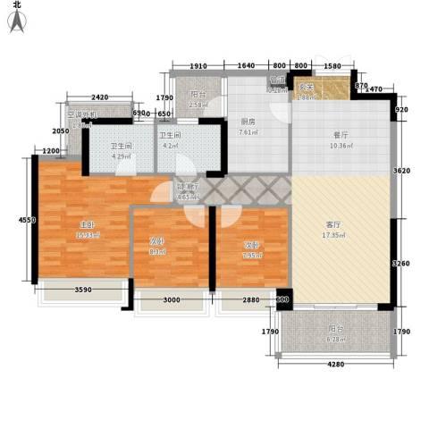 泷景花园3室1厅2卫1厨129.00㎡户型图