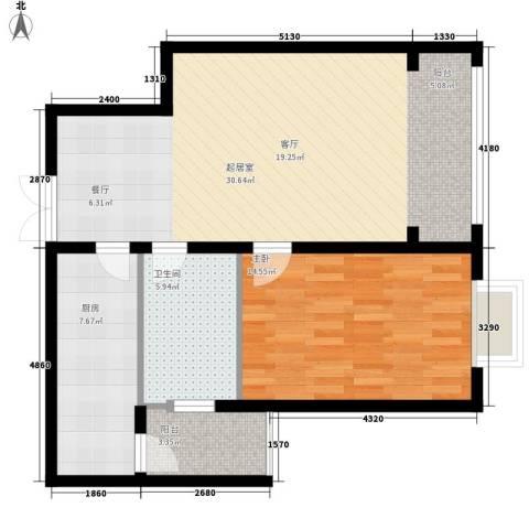 蓝湾华府1室0厅1卫1厨71.00㎡户型图