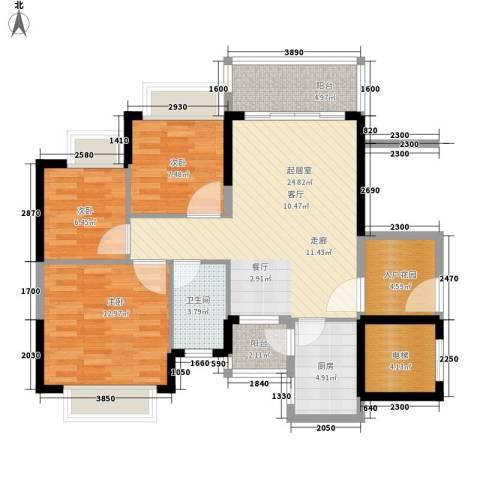 恒大・名都3室0厅1卫1厨90.00㎡户型图