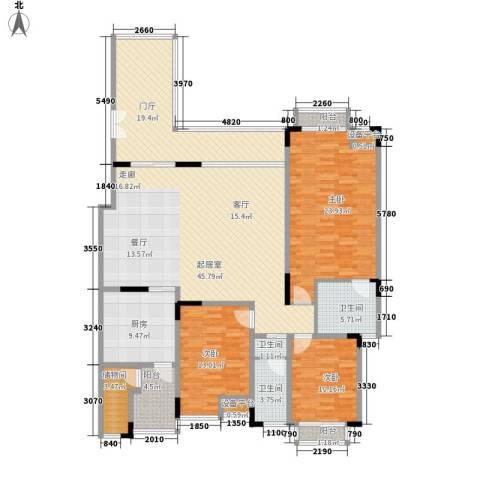 奥林匹克花园雅典海岸3室0厅3卫1厨143.81㎡户型图