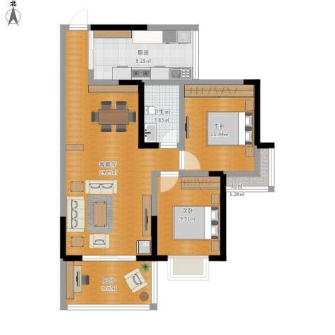 楠香山2室1厅1卫1厨105.00㎡户型图
