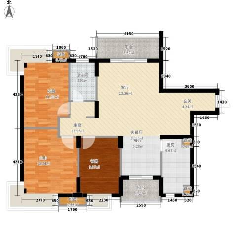 银厦.翠竹庭院3室1厅1卫1厨128.00㎡户型图