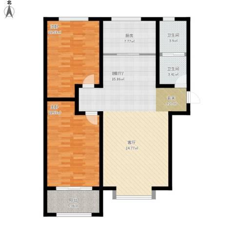 秀兰城市美居2室1厅2卫1厨139.00㎡户型图