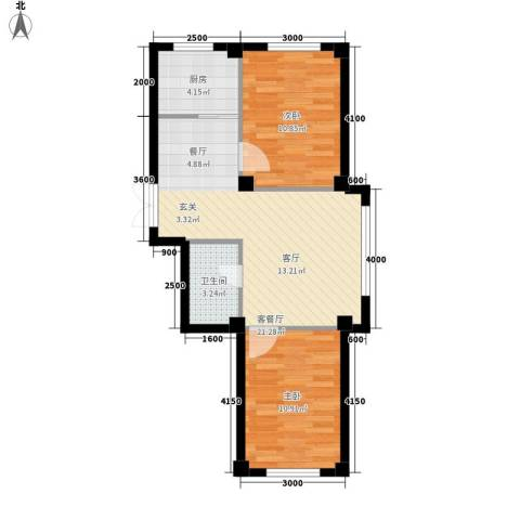 博林印象2室1厅1卫1厨57.15㎡户型图