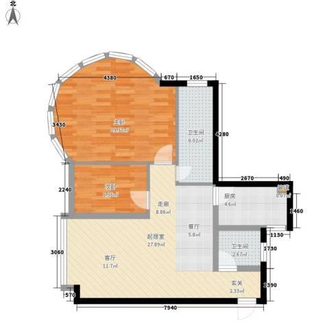 康路蓝山日记2室0厅2卫1厨84.00㎡户型图