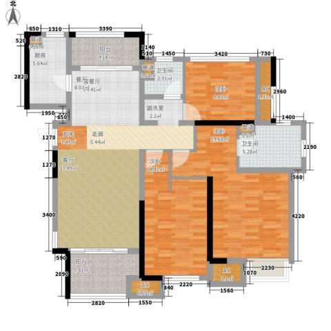 星光耀广场3室1厅2卫1厨122.00㎡户型图