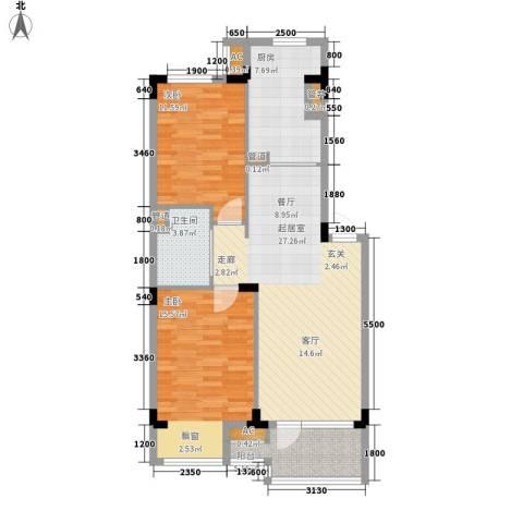 万科兰乔公寓三期2室0厅1卫1厨82.67㎡户型图