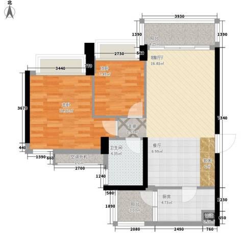 泷景花园2室1厅1卫1厨88.00㎡户型图
