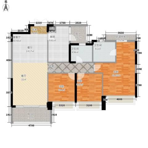 泷景花园3室1厅2卫1厨140.00㎡户型图