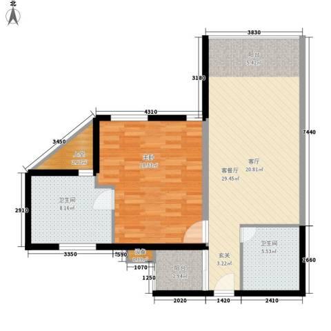 创富商务公寓1室1厅2卫0厨94.00㎡户型图