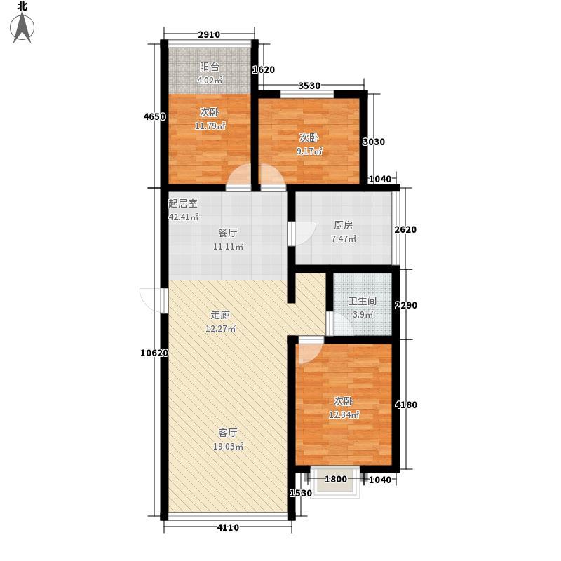 力鼎新城101.87㎡101.87平米三居室户型3室2厅2卫