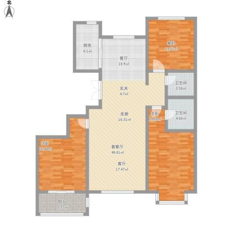 世家官邸3室1厅2卫1厨167.00㎡户型图