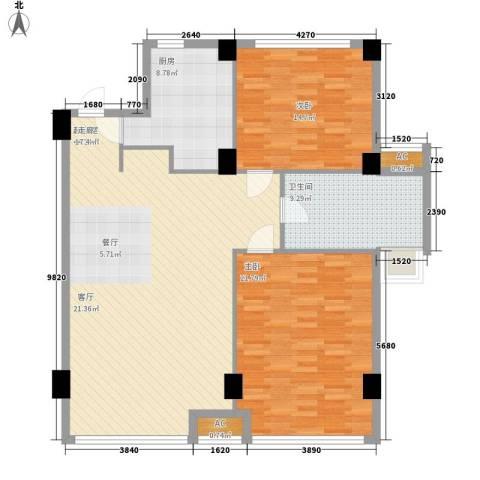 洪钢吉都居住小区2室0厅1卫1厨111.00㎡户型图