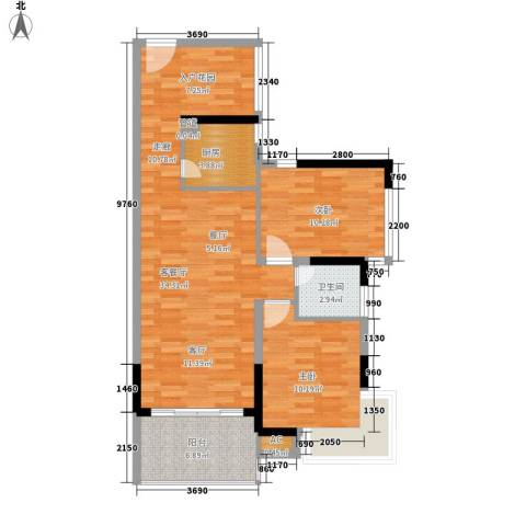 滨江公馆二期2室1厅1卫1厨99.00㎡户型图