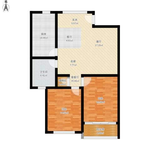 张杨花苑2室1厅1卫1厨123.00㎡户型图
