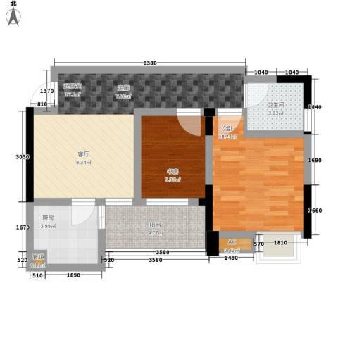 成都合院壹品2室0厅1卫1厨62.00㎡户型图