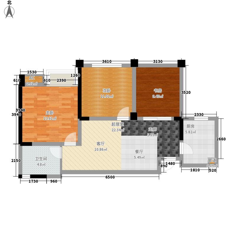 成都合院壹品79.00㎡2号楼二期D户型2室2厅1卫1厨