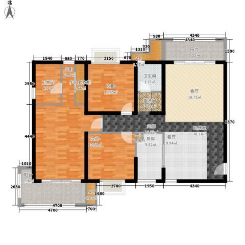 丽湖名居新时代广场3室0厅2卫1厨132.00㎡户型图