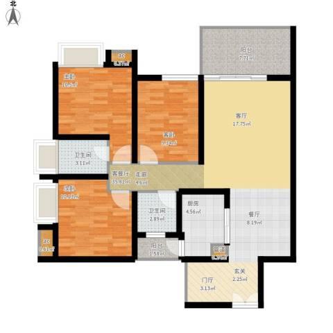 礼顿山1号3室1厅2卫1厨126.00㎡户型图