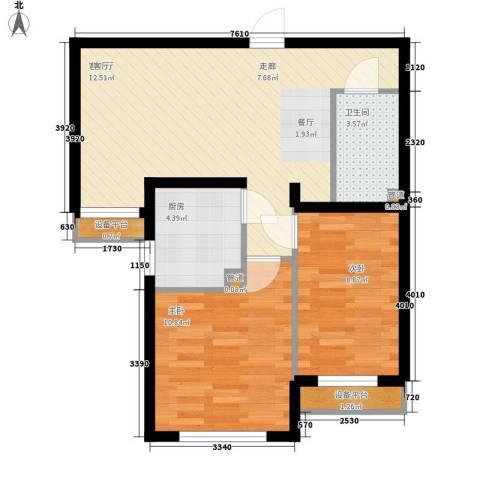 高杨树南里2室1厅1卫1厨59.86㎡户型图