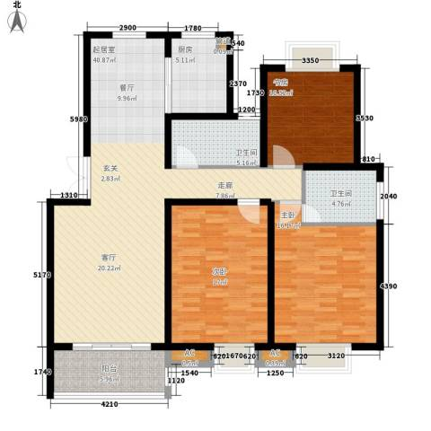 丽阳景苑3室0厅2卫1厨121.46㎡户型图