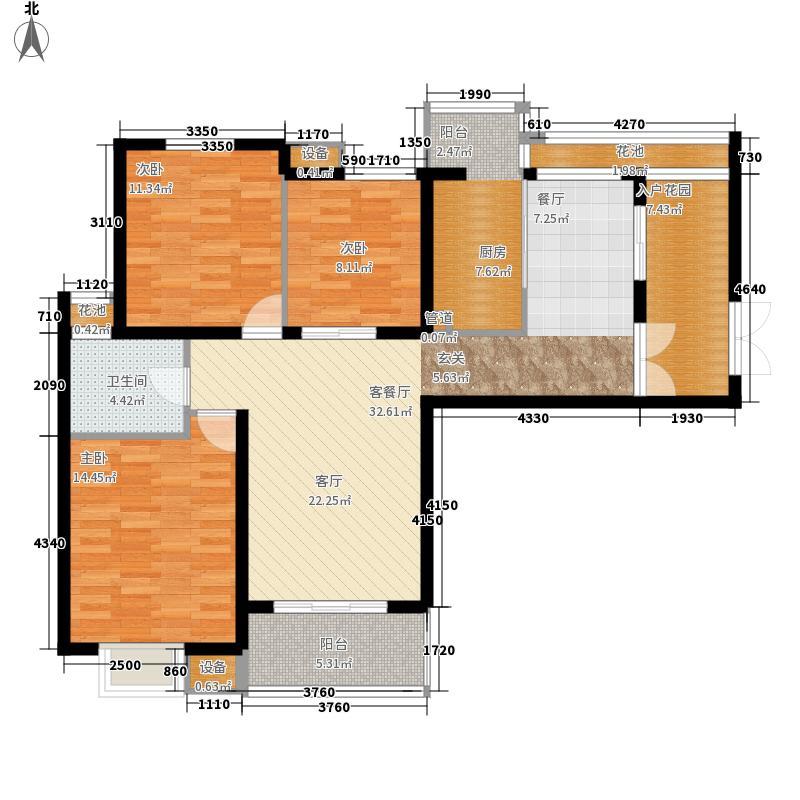 首开水晶城117.00㎡首开水晶城户型图一期A3户型5#、6#3室2厅2卫1厨户型3室2厅2卫1厨