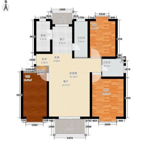 九通家园二期3室0厅2卫1厨152.00㎡户型图