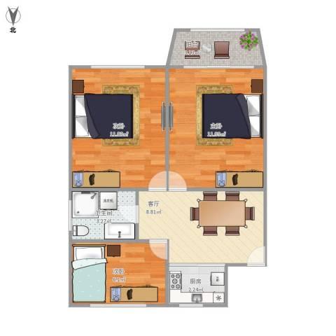 田林十四村3室1厅1卫1厨64.00㎡户型图