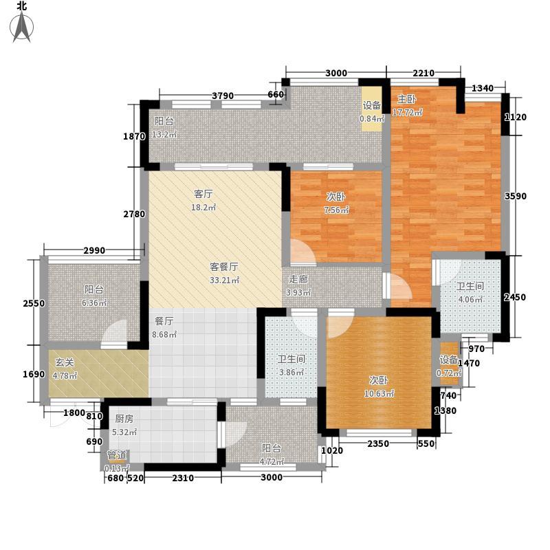 富悦麓山别苑124.19㎡二期高层2号楼1号房户型3室2厅