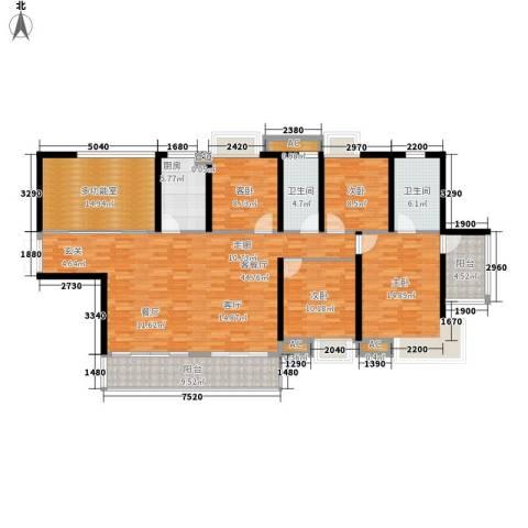 滨江公馆二期4室1厅2卫1厨134.39㎡户型图