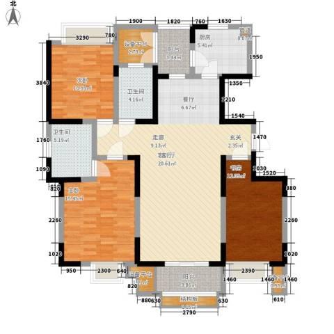 格调竹境3室1厅2卫1厨140.00㎡户型图
