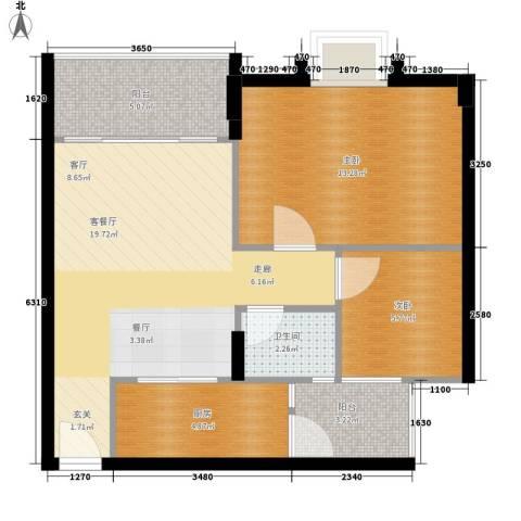 御琴华府2室1厅1卫1厨61.00㎡户型图