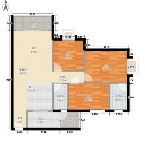 御琴华府3室1厅2卫1厨93.00㎡户型图